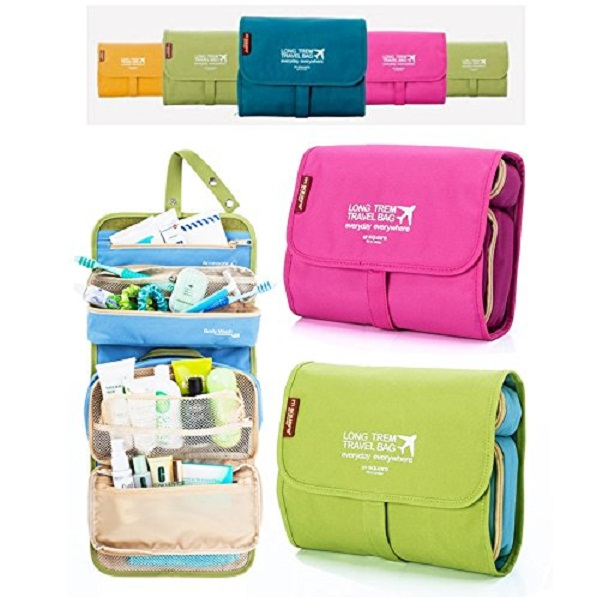 PackNBUY Folding Hanging Cosmetics Travel Organizer for make up kits toiletry pouch bags