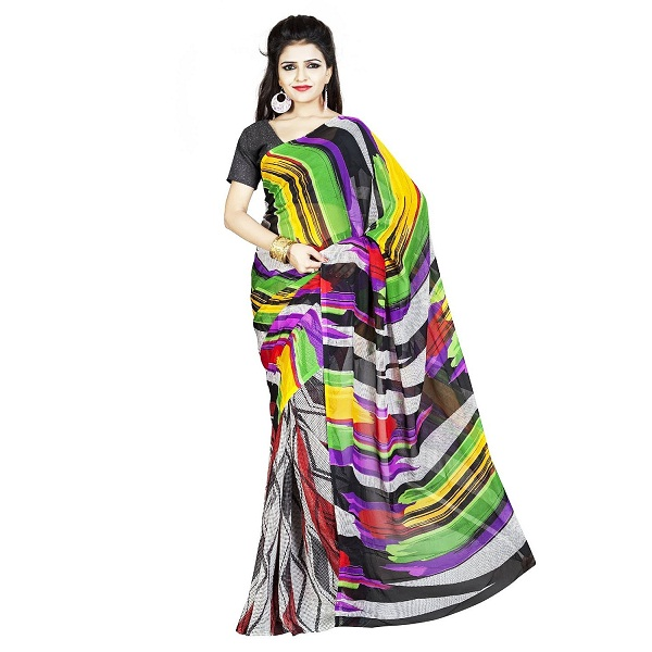 DivyaEmporio Faux Georgette Womens Saree with Un stitched blouse
