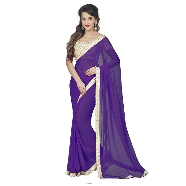 Oomph Georgette Plain Saree With Embroidered Blouse