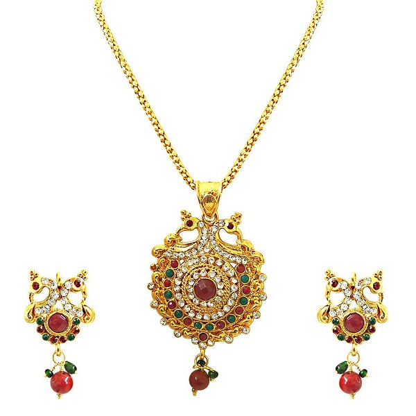 Surat Diamonds Bejewelled Peacock Pendant Necklace And Earring Set for Women