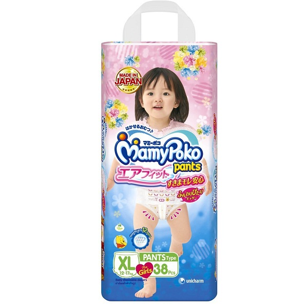 MamyPoko Pants Airfit Extra Large Premium Diapers for Girls 38 Count