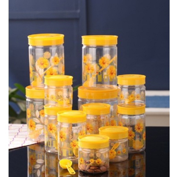 SAAJ The Flora Yellow Plastic Spice Container Pack of 12