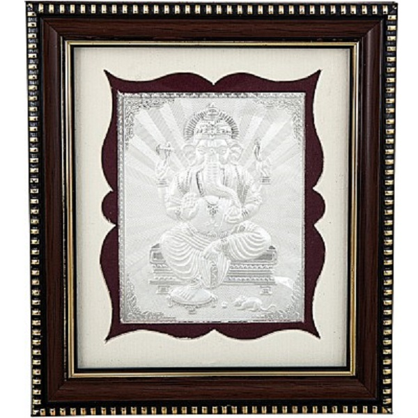 Siri Creations 999 Pure Silver Photo Frame Size 1 God Ganapathi Wooden Frame Showpiece