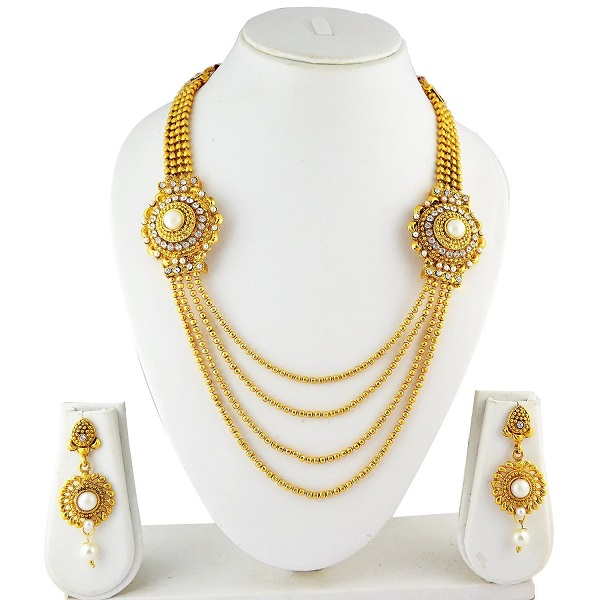 072626cd11d Ameeyo Golden Metal Multistrand Necklace With Earring Set For Women