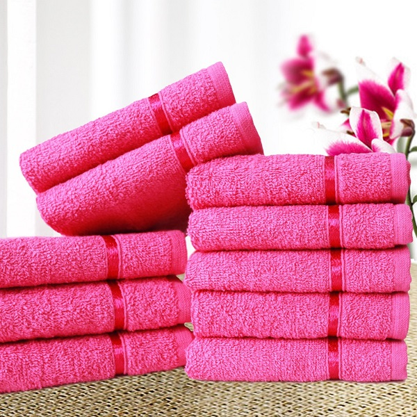 Story Home Pack Of 10 Sensational Cotton Thick Small Towel Soft Face Towels Pink With Stripe
