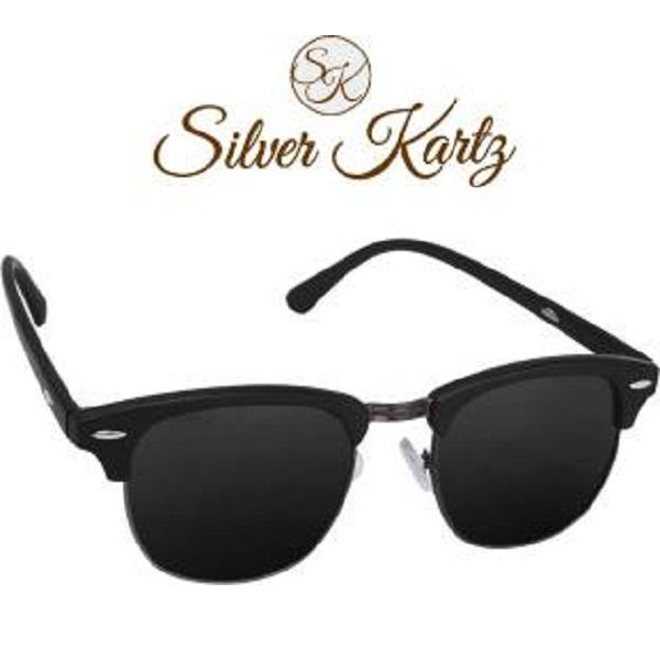 6e2e2537f69 Silver Kartz Gun Metal Clubmaster Wayfarer Sunglasses