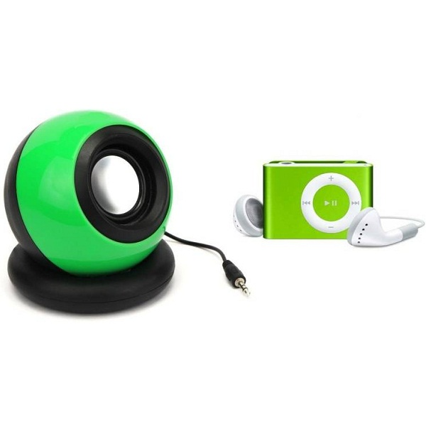 De Bluemix Combo 2 in 1 Set of Portable Mini AUX Battery Rechargable Speaker with Music Sleek 8 GB MP3 Player