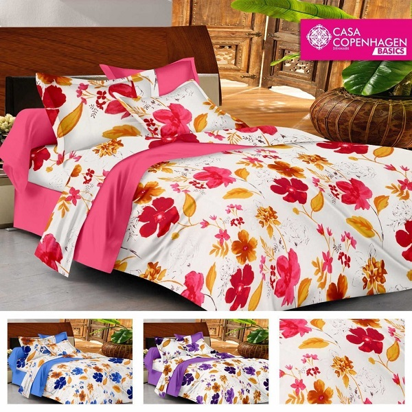 Casa Basics Double Bedsheet With 2 Pillow Covers