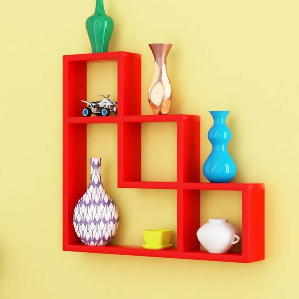 Home Sparkle L Shaped Wooden Wall Shelf