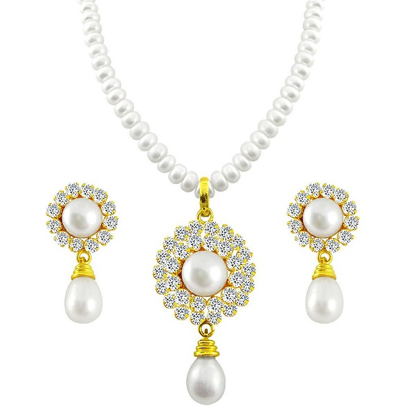 Sri Jagdamba Pearls Pearl White Pendant Necklace With Earrings Set