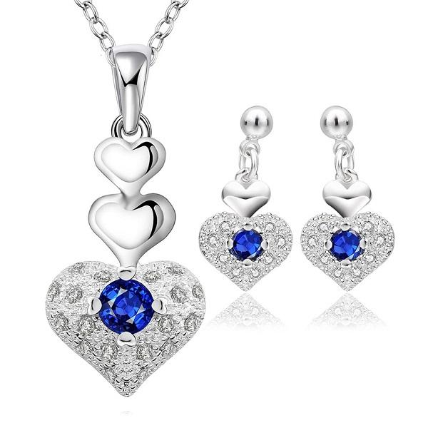 14eb70b2d YELLOW CHIMES Rich Royal Heart Austrian Crystal Blue Pendant Set with  Earrings