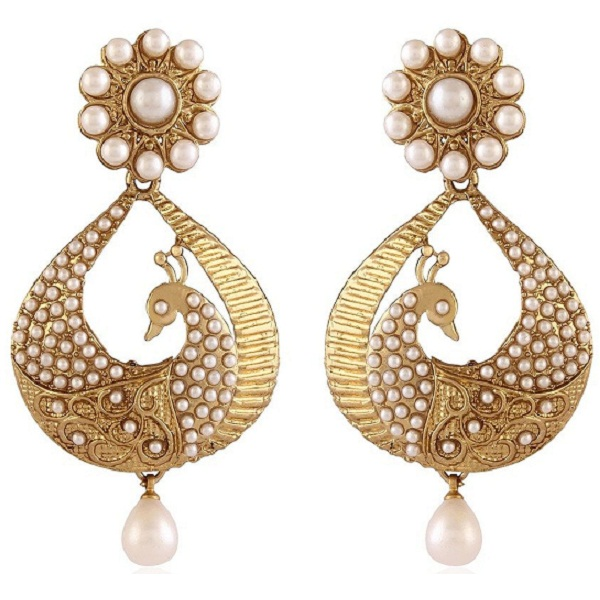 I Jewels White Gold Plated Peacock Shaped Pearl Dangle And Drop Earring