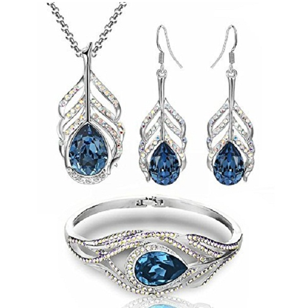 Youbella Blue Crystal Combo Of Pendant Set With Earrings