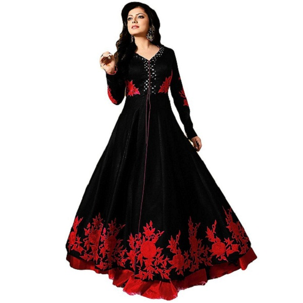 Royal Export Womens Black Mirror Bangalori Party Wear Gown