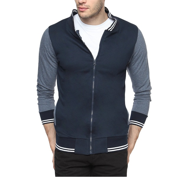 Campus Sutra Navy Blue Mens cotton Varsity Sweatshirt