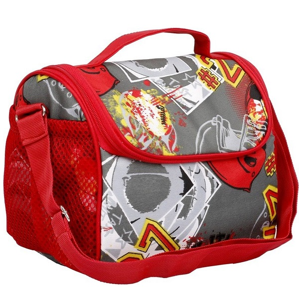 Colorsnbags Sporty red and grey tiffin bag