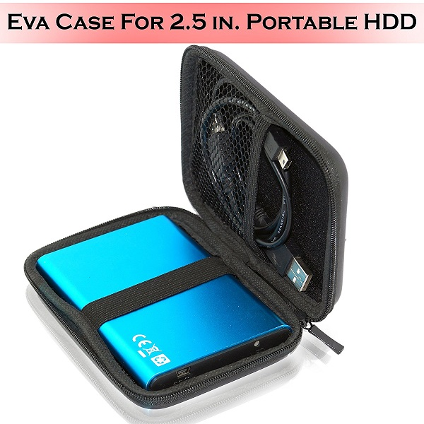 Storite EVA PU Leather Case for External Hard Drive