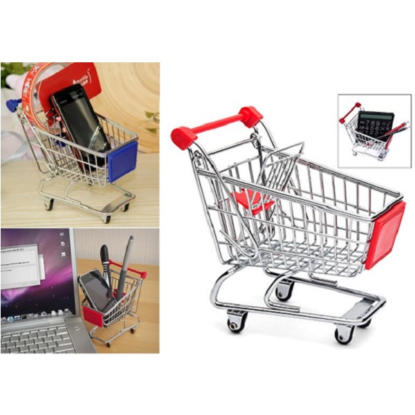 GeekGoodies Mini Shopping Cart Desk Organizer Pen Mobile Holder
