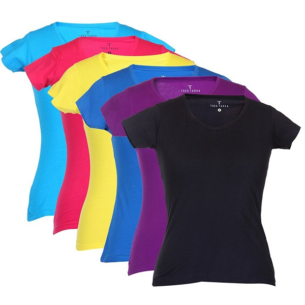 TeesTadka Women Plain V Neck T Shirt Pack of 6