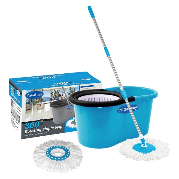 Primeway Magic Mop and Bucket with 2 Microfibre Mop Heads