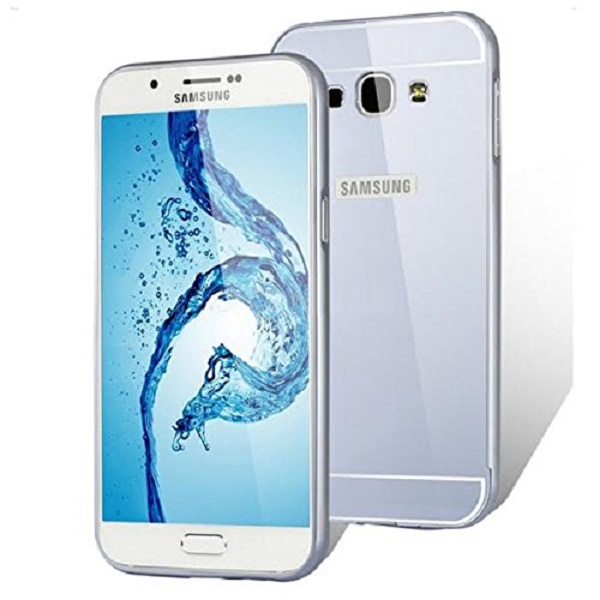 Samsung A8 Hard Silver Metal Bumper with Acrylic Mirror