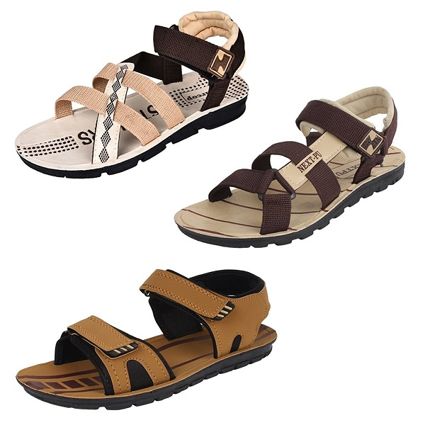 Bersache Men Canvas Combo Pack of 3 Sandals