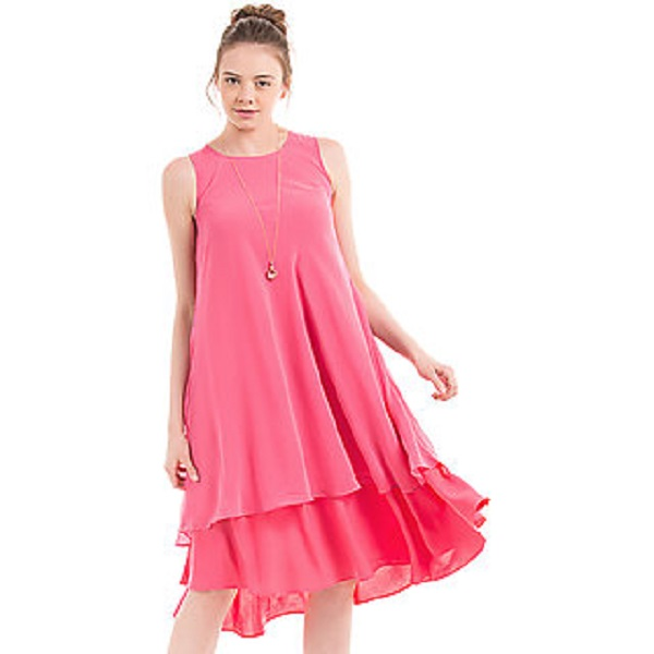 Westchic Peach Plain A Line Dress