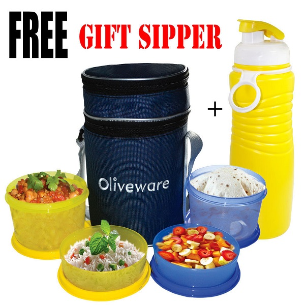 Oliveware 4 Containers Lunch Box With Sipper