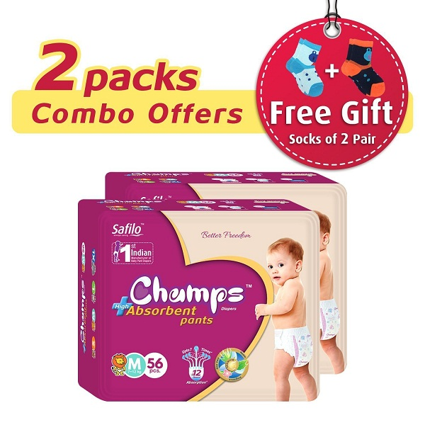 Premium Champs High Absorbent Premium Pant Style Diaper Pack of 2