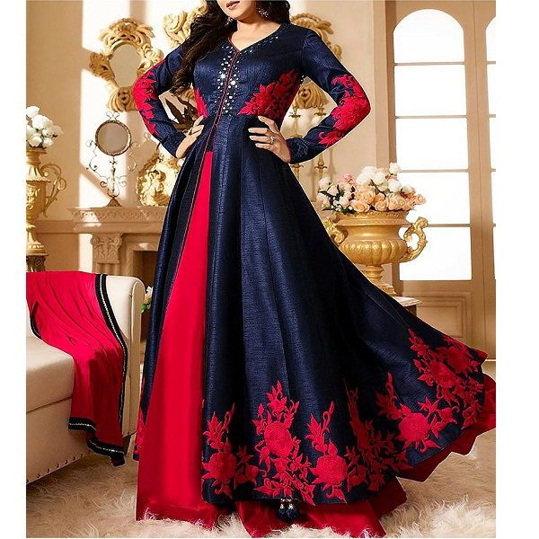 Royal Export Blue And Red Anarkali Salwar Suit