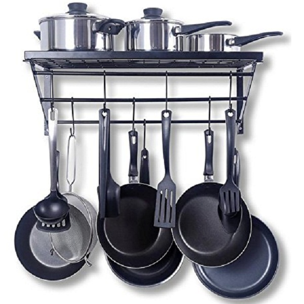 Kitchen Wall Pot Pan Rack With 10 Hooks