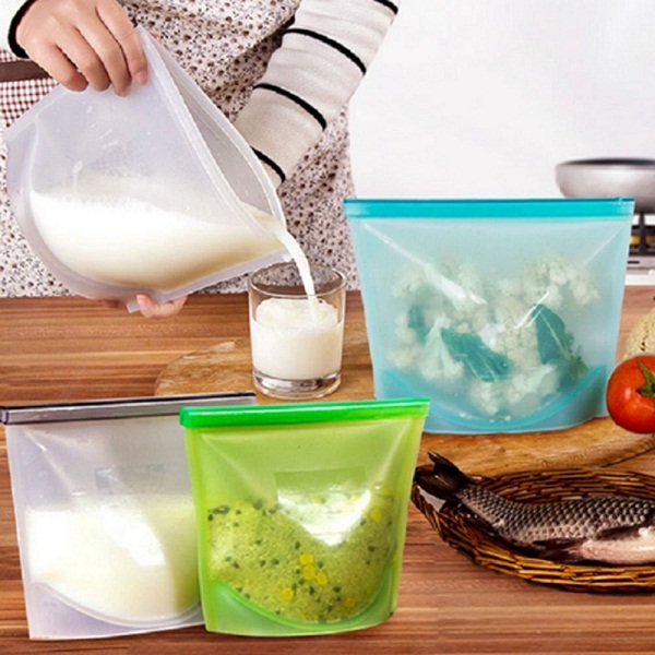 Reusable Silicone Vacuum Food Zip Sealed Storage Container Refrigerator Bag