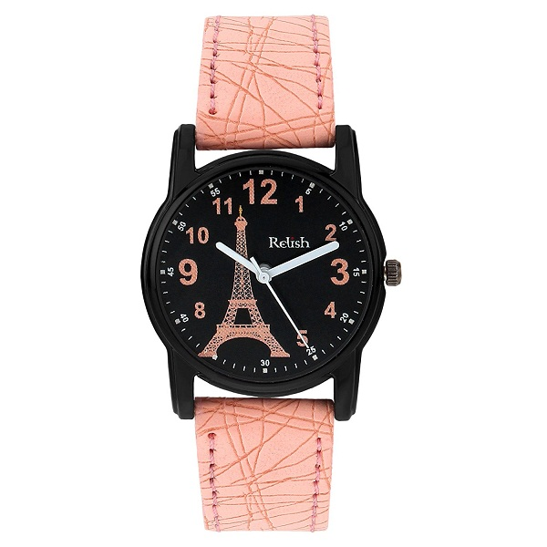 Relish Analogue Black Dial Watch