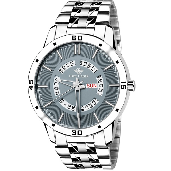 Eddy Hager Grey Day and Date Mens Watch
