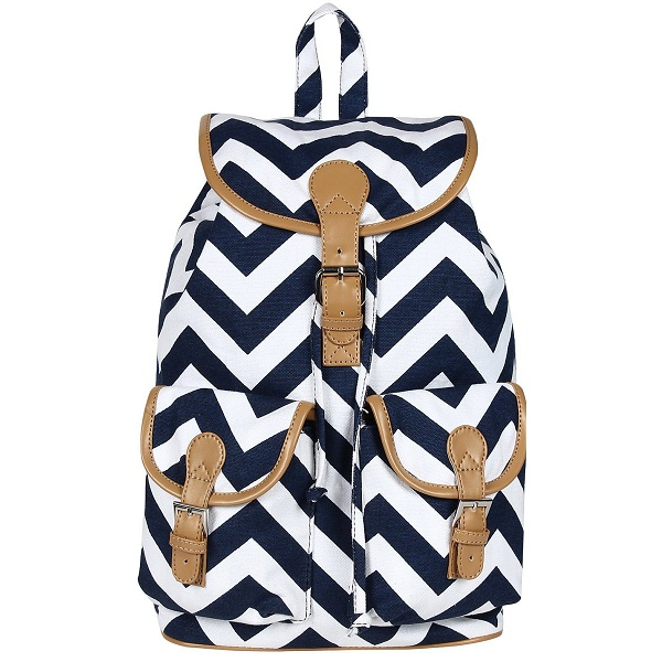 Canvas Backpack with PU Flap