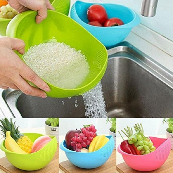 Set of 3 Pcs Vegetables Washing Bowl And Strainer