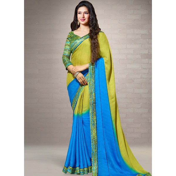 Shaily Blue Printed Saree
