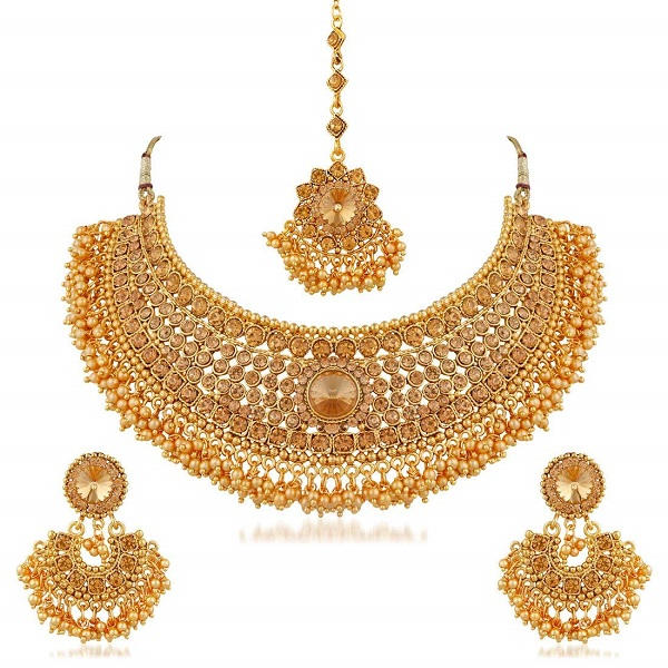 Apara Bridal Gold Plated Pearl LCT Stones Choker Necklace Set