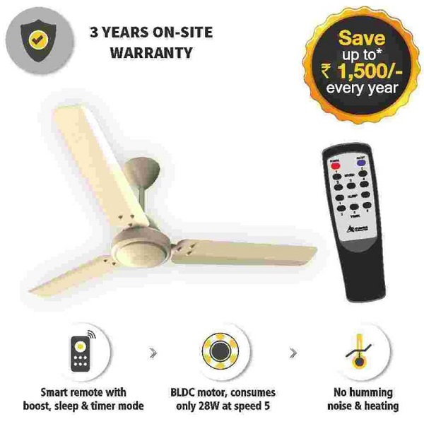 Gorilla E1 1200IV BLDC Motor with remote control 3 Blade Ceiling Fan