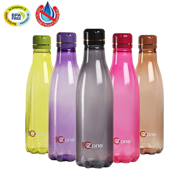 Cello Ozone 1 Litre Plastic Water Bottle Set of 5