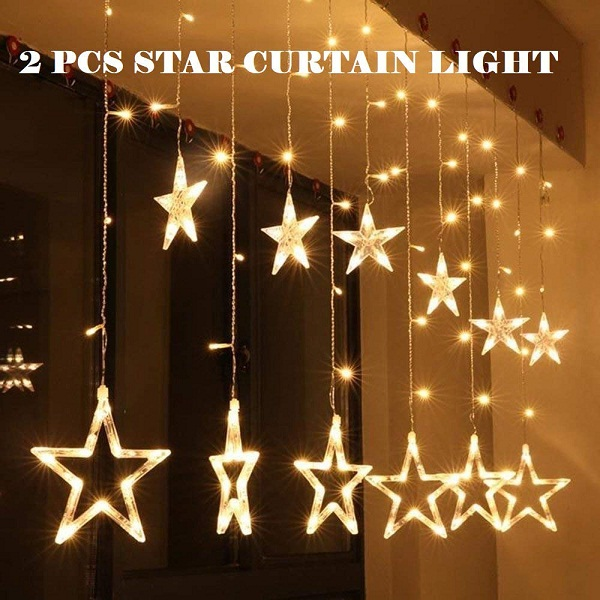 Satyam Kraft 2 Pcs Star Light Curtain for Decoration