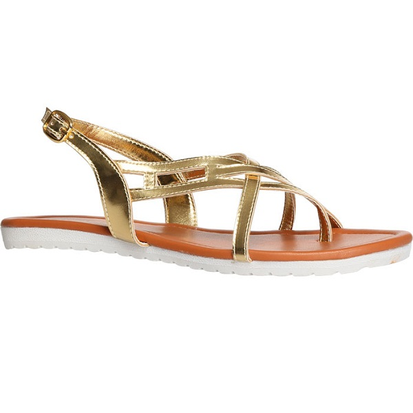 BATA Gold Flat Sandals For Women