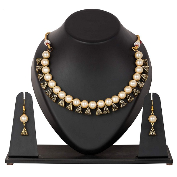 Samyra Pearl Choker Traditional Necklace Set
