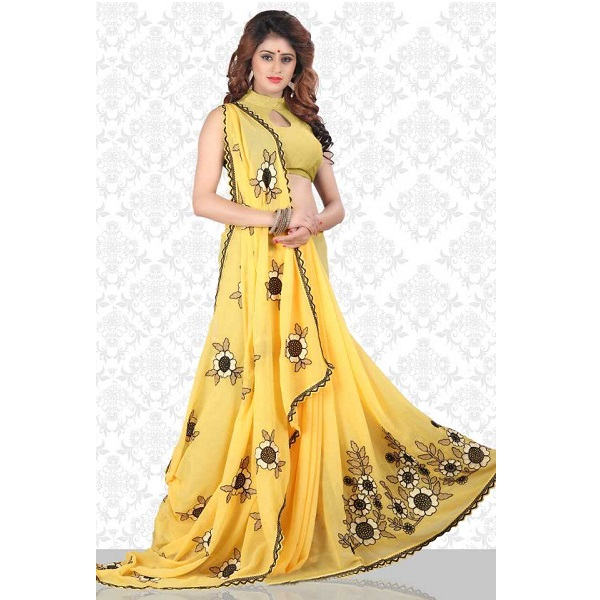 048763fe12789c Divastri Embroidered Fashion Chiffon Saree