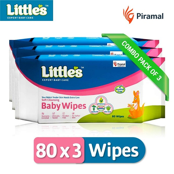 Littles Soft Cleansing Baby Wipes Pack of 3
