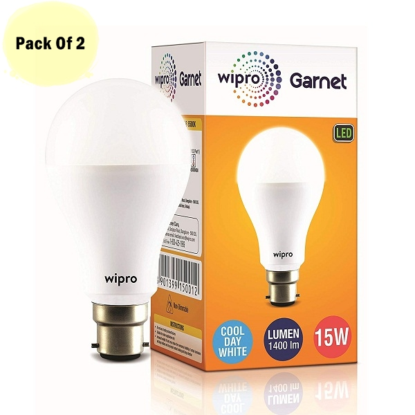 Wipro Garnet Base B22 15Watt LED Bulb Pack Of 2