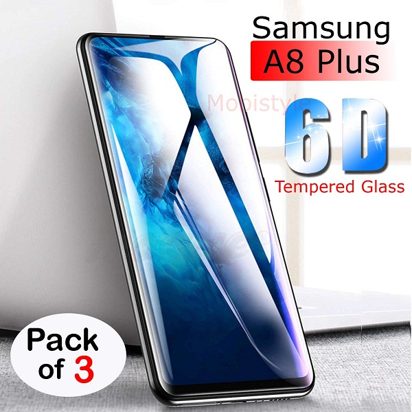 Mobistyle Samsung A8 Plus Tempered Glass Pack 3