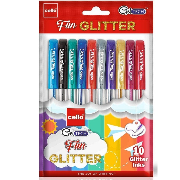 Cello Pack of 10 Geltech Fun Glitter Gel Pen
