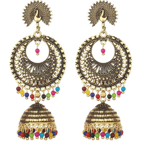 Designer Peacock Jhumki Earrings