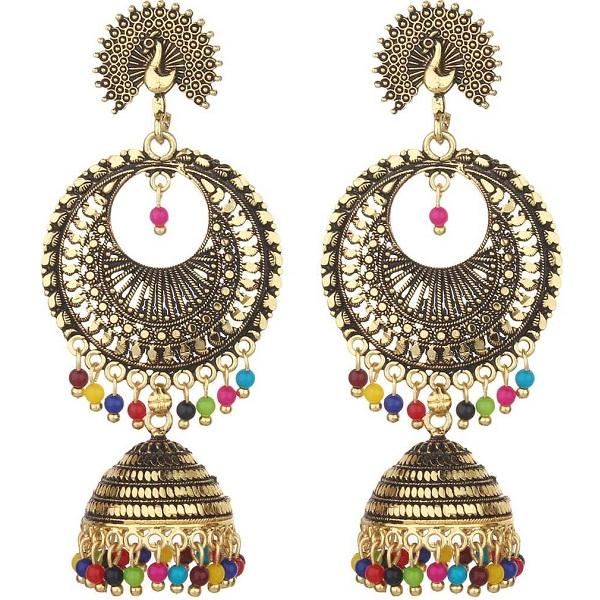 85a67a2cd Designer Peacock Jhumki Earrings